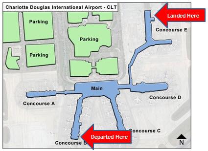 Charlotte Douglas Airport map on
